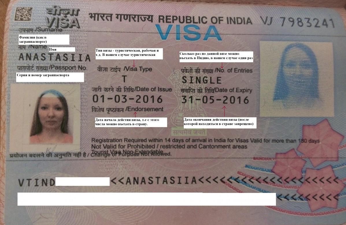 образец заполнения визы в индию
