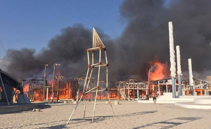 Пожар в детском лагере в Крыму 2016 на Казантипе