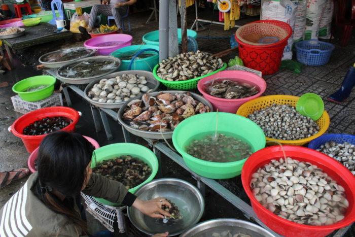 Фукуок, Вьетнам, дневной рынок, морепродукты