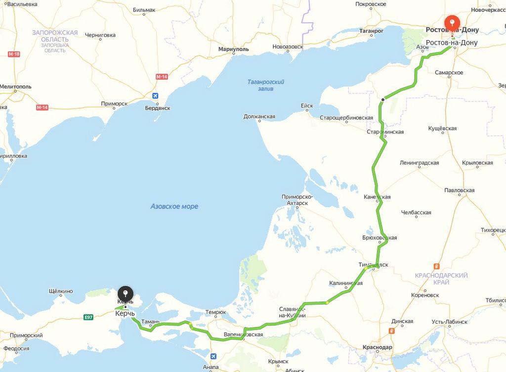 Дорога в Крым из Москвы