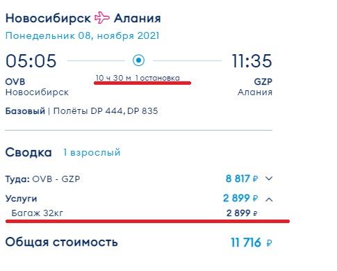 Пример билета Новосибирск Алания